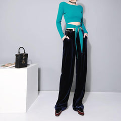 Red Elastic Waist Loose Wide Leg Long Pant