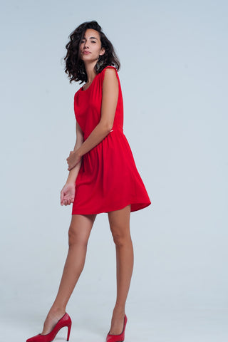 Cocktail & Party Dresses - Women's Trendy Red High Neck Striped Dress