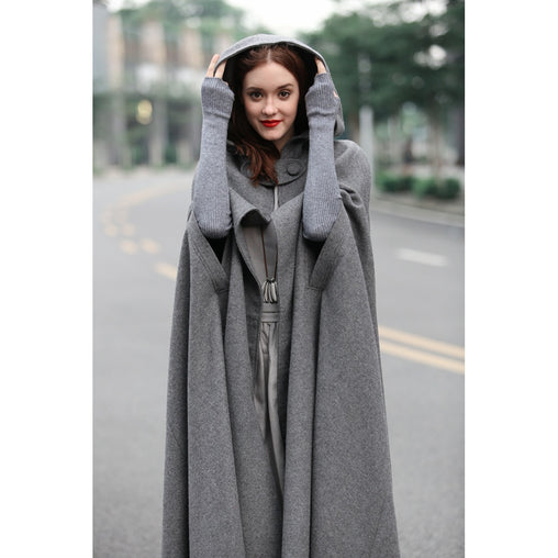 Plus Size Black Hooded Wool Oversized Coat