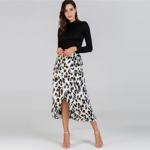 Multicolor Print Knee Length Asymmetric Skirt