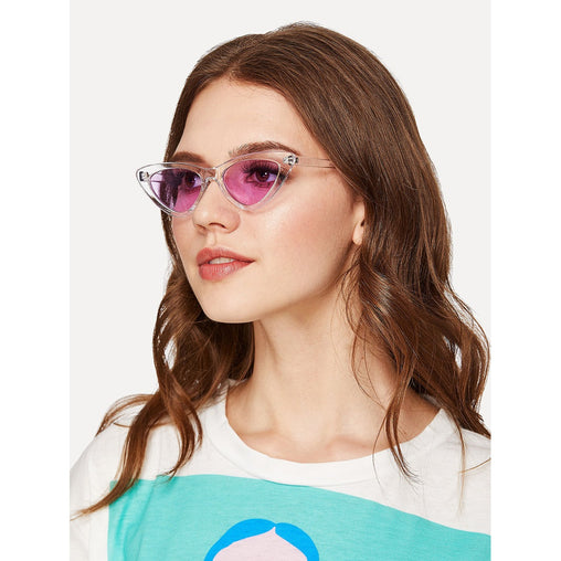 Purple Clear Frame Cat Eye Sunglasses