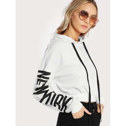 White Hooded Long Sleeve Pullover Top