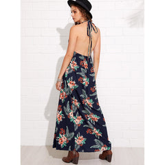 Black Deep V-Neck Sleeveless Floral Print Hem Long Dress