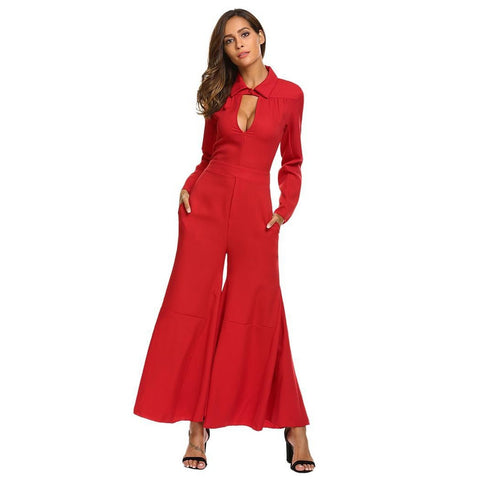 Jumpsuits - Women's Trendy Red Collar Long Sleeve Jumpsuit