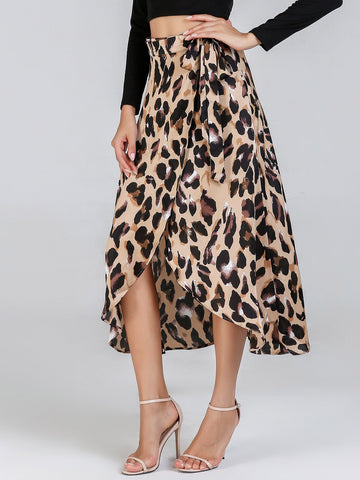 Pleated Skirts - Women's Trendy Multicolor Waist Knot Leopard Print Skirt