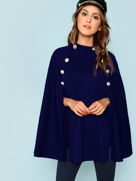 Navy Double Button Mock Poncho Coat