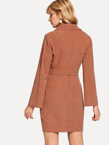 Cocktail & Party Dresses - Women's Trendy Camel Notched Collar Button Up Dress
