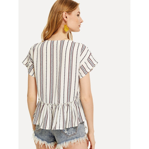 Tops - Women's Trendy Multicolor V-Neck Short Sleeve Blouse