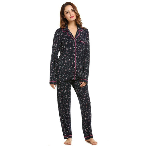 Cropped Pants - Women's Trendy Black Polyester Print Pajama Set