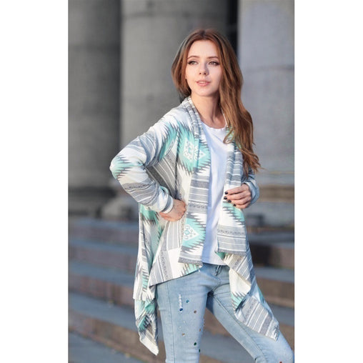 Plus Size Blue Floral Print Knit Coat
