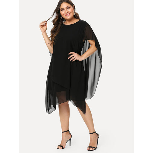 Plus Size Black Asymmetrical Hem Tiered Dress