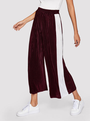 Wide Leg Pants - Women's Trendy Burgundy Contrast Panel Side Wide Leg Pants