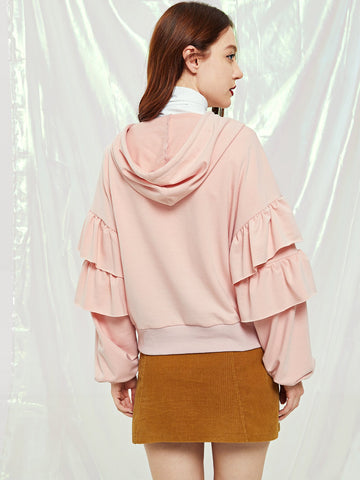 Sweatshirts - Women's Trendy Pink Ruffle Trim Exaggerate Sleeve Hoodie