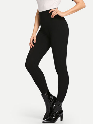 Leggings - Women's Trendy High Waist Solid Leggings