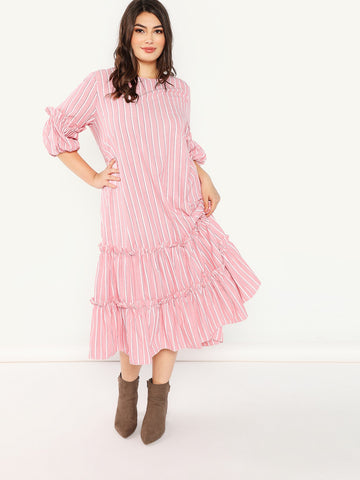 Plus Size Dresses - Women's Trendy Plus Size Pink Frill Trim Tiered Striped Dress