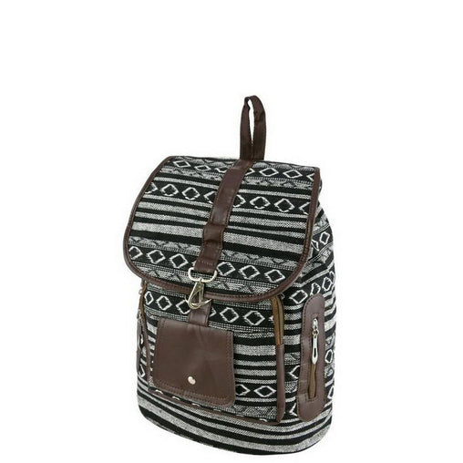 Black And White Print Leather Backpack