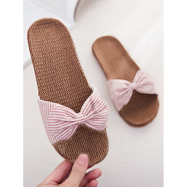 Pink Striped Bow Flat Sliders