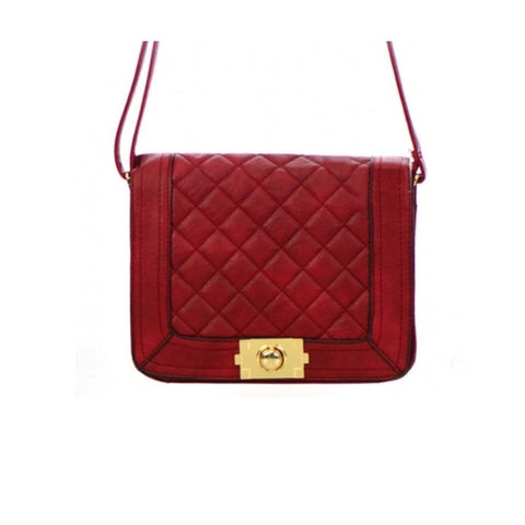 Flap Red Leather Clutch Bag