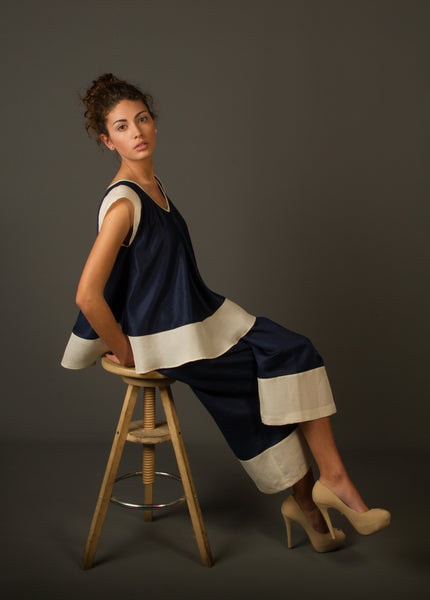 Navy Blue Sleeveless Silk Top