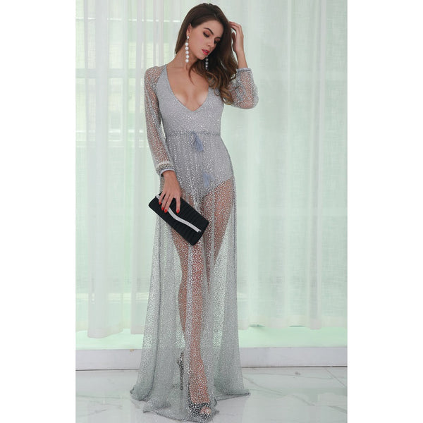 Silver Glitter Backless Dress