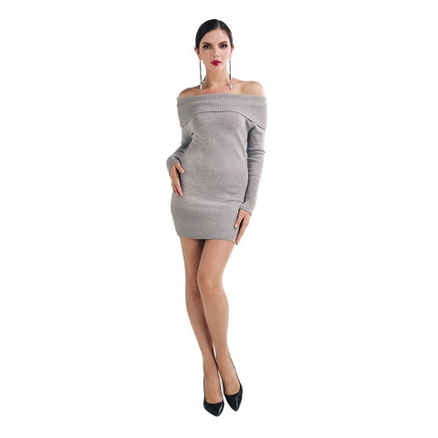 Hoodies - Women's Trendy Grey Off Shoulder Above Knee Sweater