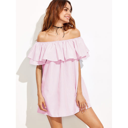 Pink Off Shoulder Striped Ruffle Mini Dress