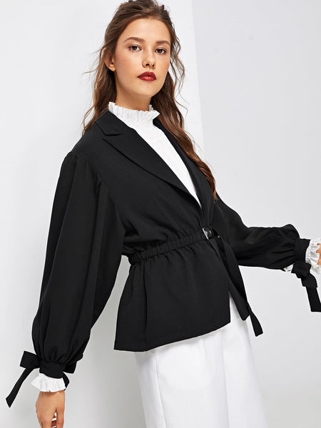 Black Casual Self Belted Notched Collar Blazer