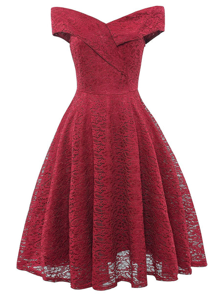 Burgundy Off the Shoulder Flare Midi Dress