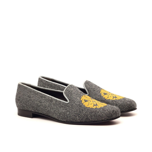 Grey Embroidered Leather Slippers