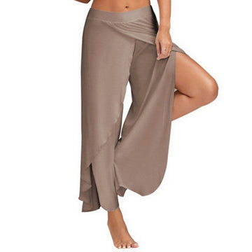 Army Green Casual High Slit Layered Palazzo Pants