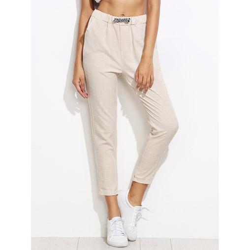 Beige Mid Waist Plaid Tapered Carrot Crop Pant