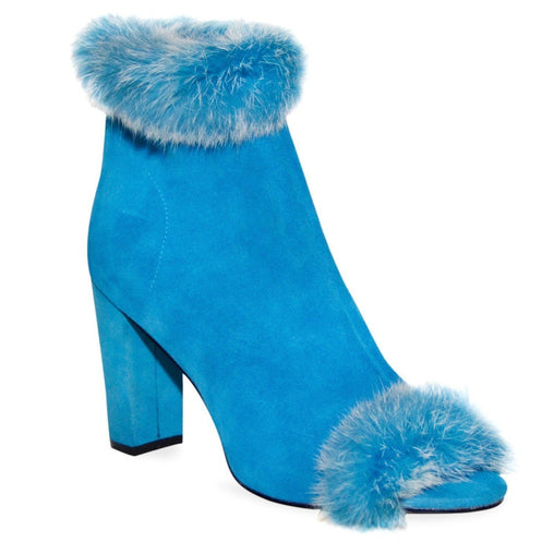 Blue Chunky Heel Booties - Fashiontage