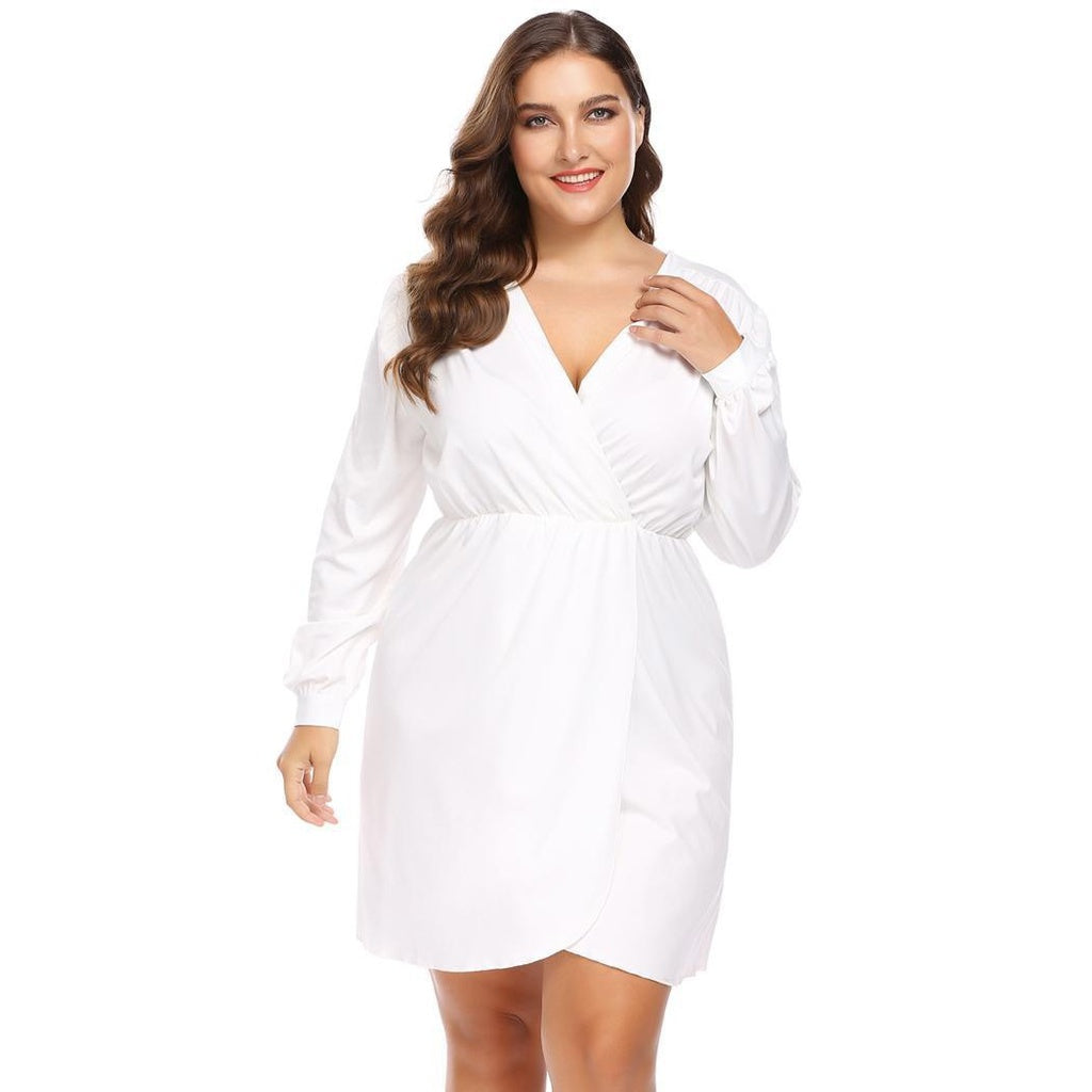 Shirts Womens Plus Size Long Sleeve Ruched Shirt Dress At