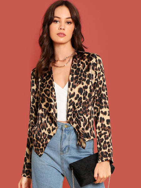 Leopard Print Short Satin Waterfall Coat