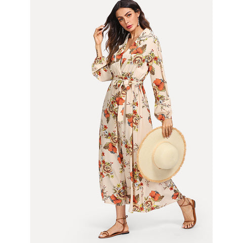 Day Dresses - Women's Trendy Apricot Lantern Sleeve Wrap Floral Print Maxi Dress