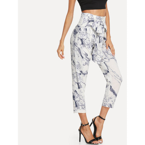 Tapered Pants - Women's Trendy Multicolor High Waist Print Tapered Carrot Capri Pant
