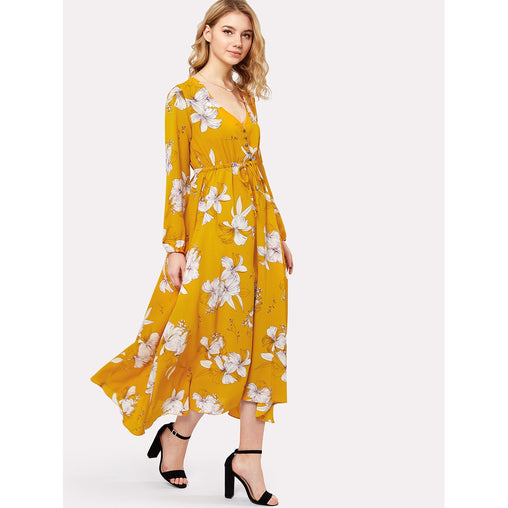 Flower Print Drawstring Waist Button Front Dress - Fashiontage
