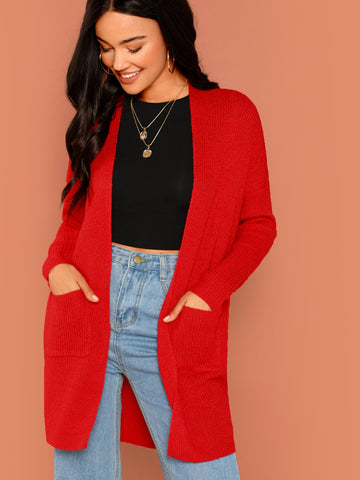 Red Open Front Cozy Knit Pocket Cardigan