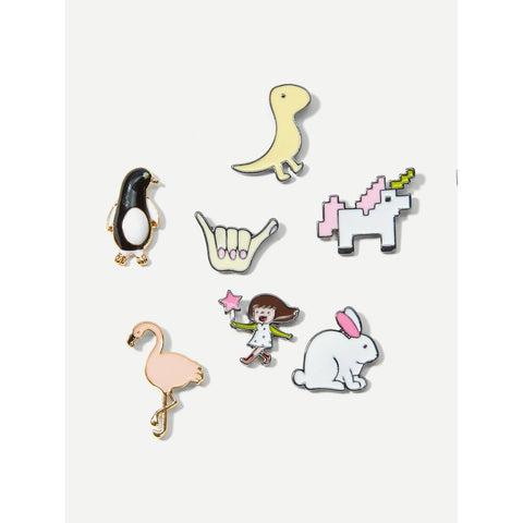Rabbit And Girl Brooch Set 7pcs