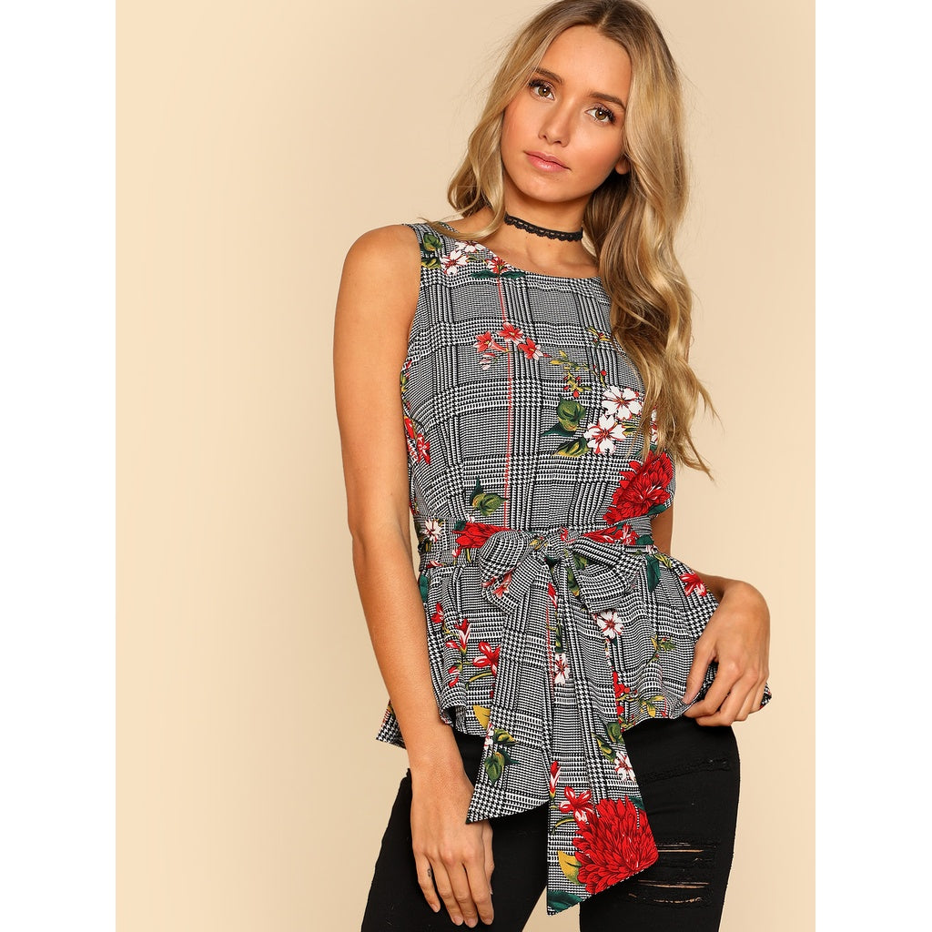 Self Belted Floral And Plaid Shell Top - Fashiontage