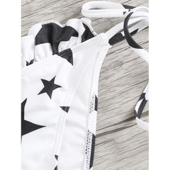Black And White Print Bikini Set - Fashiontage