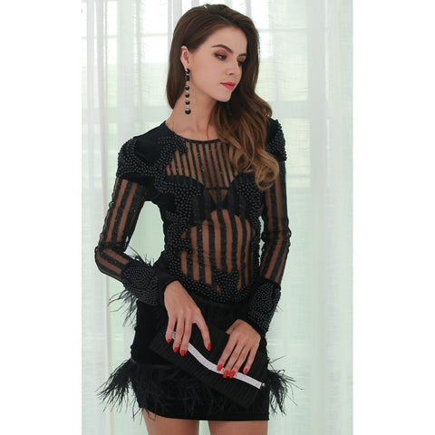 Bridal Dresses - Women's Trendy Black Fringe Party Dress