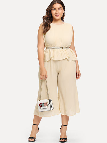 Wide Leg Pants - Women's Trendy Plus Size Apricot Ruffle Hem Crinkle Top And Wide Leg Pants