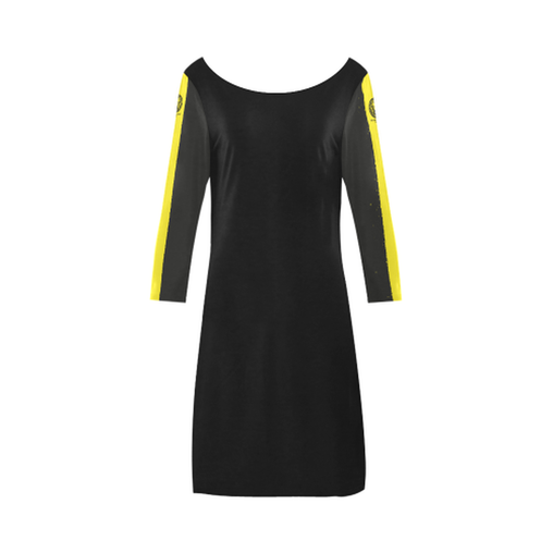 Plus Size Yellow Scoop Neck A Line Dress