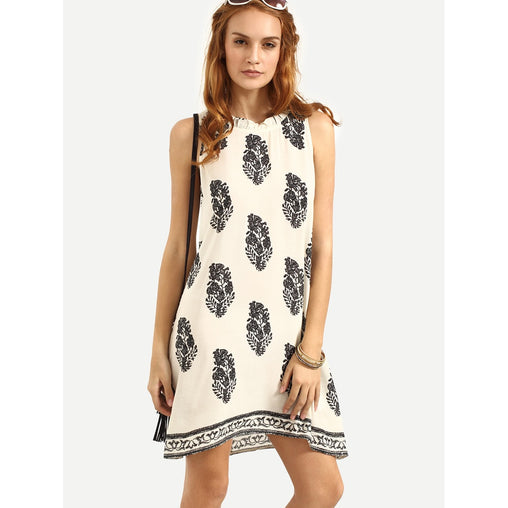 Tie Back Leaf Tribal Print Beach Dress - Fashiontage