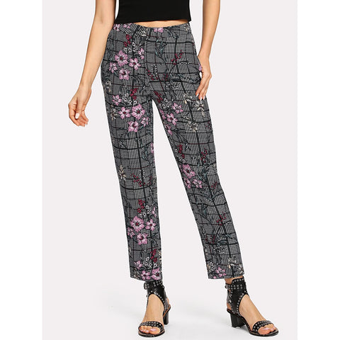 Tapered Pants - Women's Trendy Multicolor Mid Waist Plaid Tapered Carrot Crop Pant