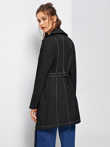 Contrast Stitch Self Adjustable Belted Coat