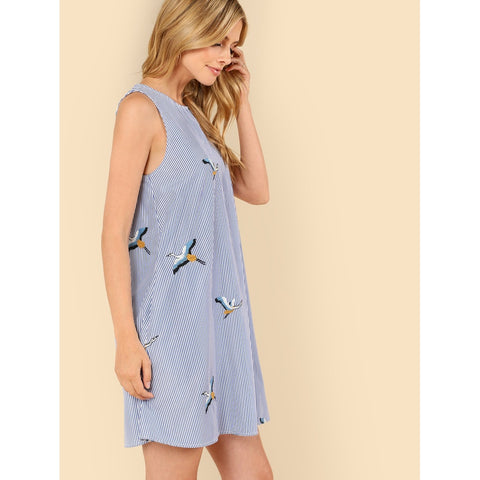 Multicolor Crane Bird Embroidered Pinstriped Dress