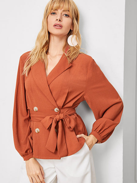 Rust Shawl Collar Double Breasted Placket Belted Blazer