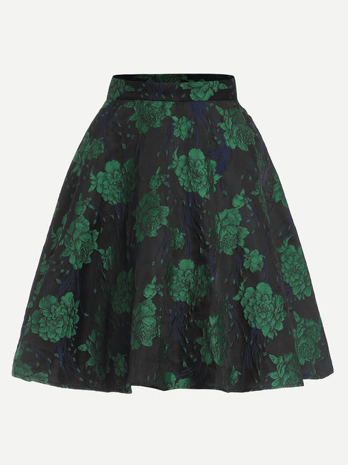 Green Zip Front Flower Print Skirt